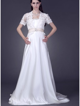 Glamorous Short Sleeve Ivory Lace Wedding Bolero Jacket