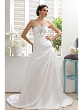 Style A Line Strapless Sleeveless Chapel Lace Up Talines Beach Wedding Dress