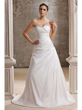 Charming A Line Sweetheart Chapel Train Talines Wedding Dress