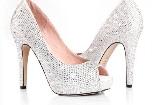 Charming Sliver Stain Upper Stiletto Heel Peep Toes Wedding Shoes