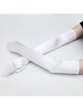 Graceful Long Full Finger White Bridal Gloves