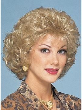 Capless Short Curly Natural Synthetic Wig 10 Inches