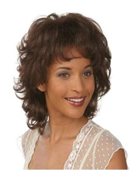 Capless Medium Curly Natural Synthetic Wig 12inches
