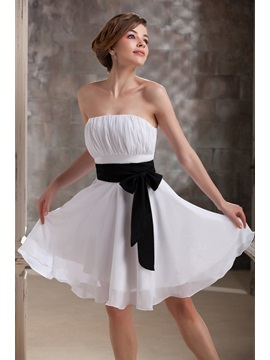 Pretty Ruched Sashes Ribbons A Line Strapless Short Darias Bridesmaid Dress