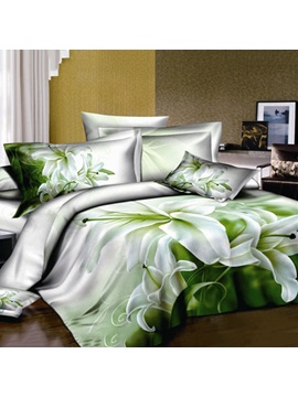 Fresh Perfume Lily Printed 4 Piece 100 Cotton Bedding Set