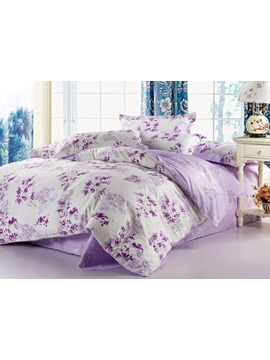 Pastoral Purple Floral 100 Cotton Twill 4 Piece Bedding Sets