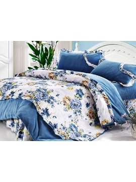 Exquisite Blue Poney Warm Thick Coral Velvet 4 Piece Bedding Sets