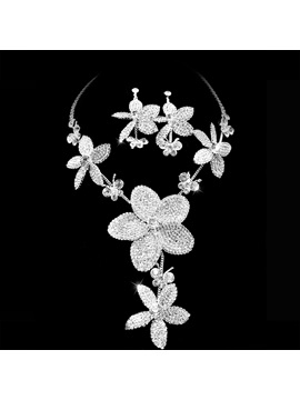Best Clear Crystal Wedding Bridal Jewelry Set Including Necklace Earring Nf2875
