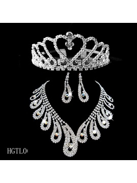 Amazing Wedding Bridal Tiaras Jewelry Sets Including Necklace Earrings