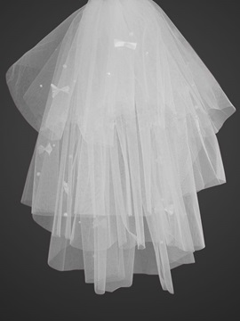 Cute Blusher Wedding Veils With Cut Edge