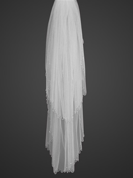 Elegant Tidebuy Fingertip Wedding Veil With Beaded Edge