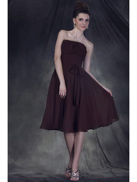 Timeless A Line Knee Length Strapless Anderais Bridesmaid Dress