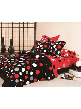 Stylish Red And White Dot 100 Cotton 4 Piece Bedding Set