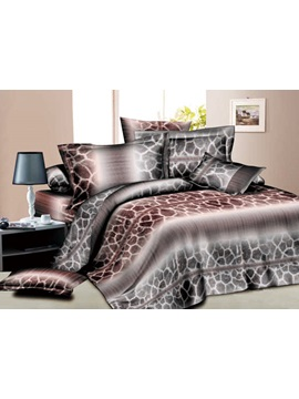King Size Giraffe Printed 4 Pieces Comforter Bedding Sets