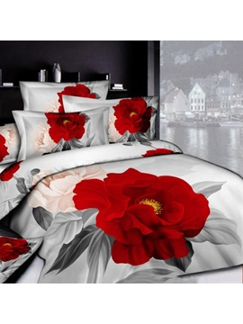Gorgeous Light Grey And Peony Cotton Printed 4 Pieces Comforter 3d Bedding Sets