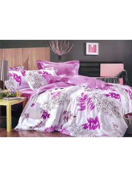 White Flower With Purple Comforter 4 Piece Bedding Sets