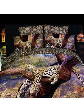Elegant 4 Pieces Sleeping Leopard Print Bedding Sets