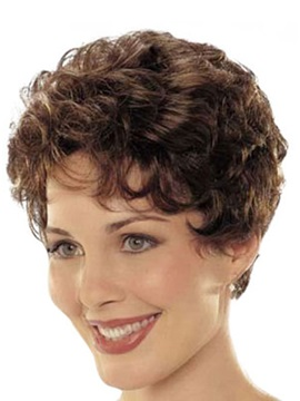 Classical Short Curly Natural Synthetic Hair Wig 5 Inches