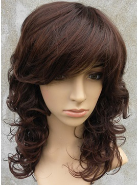 Side Bang Medium Curly Synthetic Hair Wig 12 Inches