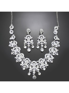 Bohemian Style Alloy With Rhinestone Wedding Jewelry Set Including Necklace And Earrings