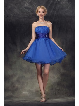 Strapless Sequins Beading Pleats Short Nastyes Prom 16 Dress