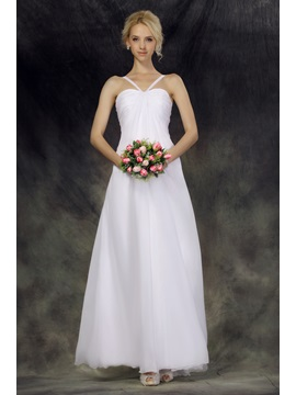Elegant Empire Ankel Length Halter Nastyes Beach Wedding Dress