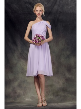 Terrific Ruched A Line One Shoulder Knee Length Nastyes Bridesmaid Homecoming Dress