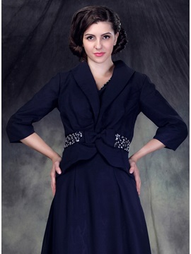 3 4 Sleeve Jacket With Bowknot