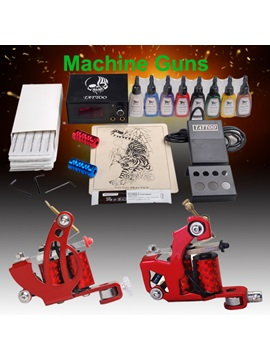 Beginner Tattoo Kit With 2 Machines Ink Power Set And Needles