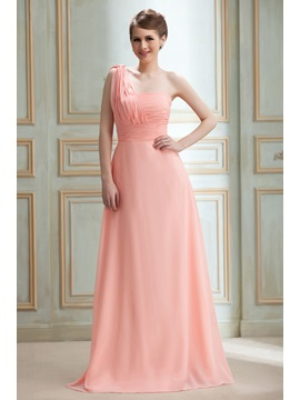 Sexy Draped A Line One Shoulder Floor Length Nadyas Bridesmaid Dress