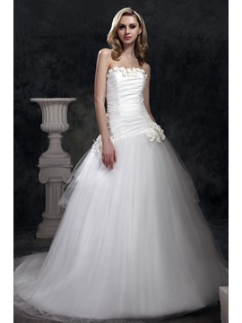 Brilliant Strapless Ball Gown Chapel Train Dashas Wedding Dress