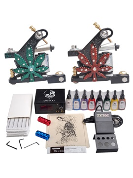 Delicate Beginner Tattoo Kit With 2 Machines Ink Power Set