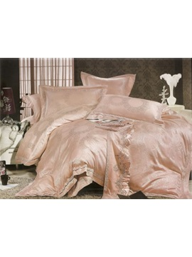 Silk Stocking 4 Piece Stain Drill Bedding Sets With Cameo Brown Jacquard