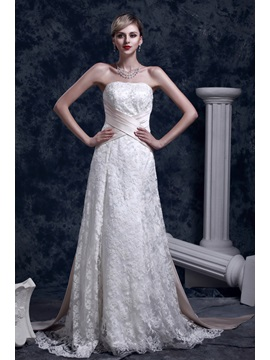Elegant Slight A Line Strapless Court Dashas Wedding Dress