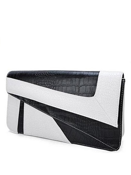 Elegant Black And White Pu Tiny Clutch Evening Bag