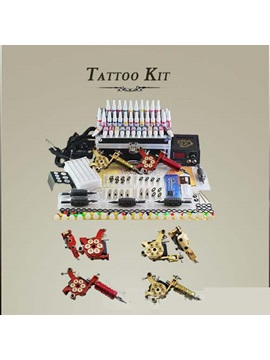 Professional Tattoo Kit With 2 Top Machines 40 Colors Inks And Lcd Power Supply