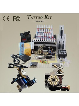 Professional Tattoo Kit With 2 Pcs Of Top Tattoo Machines And 40 Inks