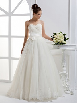 Beautiful A Line Sweetheart Flower Ruffles Floor Length Wedding Dress
