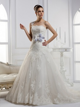 Fantastic A Line One Shoulder Chapel Train Flowered Floor Length Wedding Dress