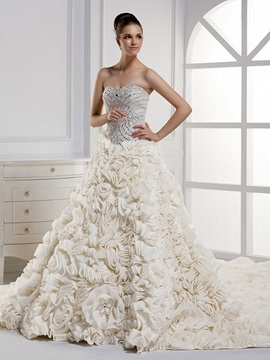 Charming Strapless Beaded Sweetheart Floor Length A Line Ruffleswedding Dress