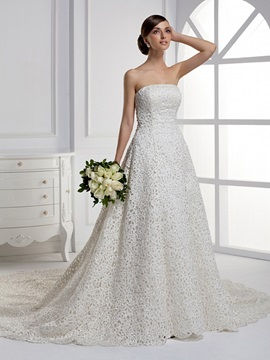 Luxurious Strapless A Line Ruffles Floor Length Chapel Train Wedding Dress