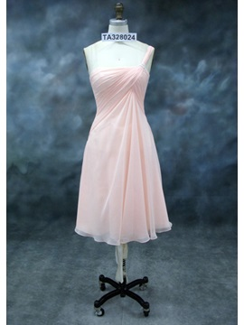 Charming Ruched A Line One Shoulder Knee Length Bridesmaid Dress