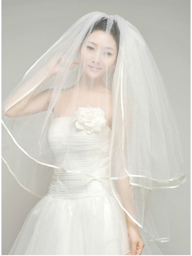 Graceful Elbow Wedding Veil With Satin Applique Edge