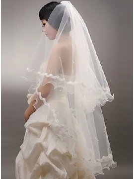 Elbow Wedding Veil With Lace Applique