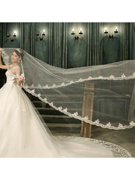 Glamorous Tidebuy Cathedral Length White Tulle Wedding Veil