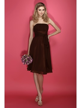 Amazing Chiffion A Line Sashes Ribbons Strapless Knee Length Dashas Bridesmaid Dress