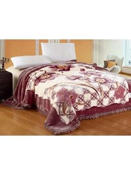 Showy Purple Raschel Blanket With Flowers Printing