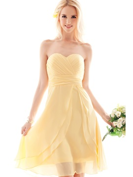 Sweet A Line Sweetheart Pleats Knee Length Nastyes Bridesmaid Dress