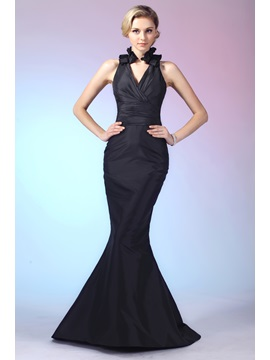Graceful Trumpet V Neck Ruffles Floor Length Dashas Evening Dress