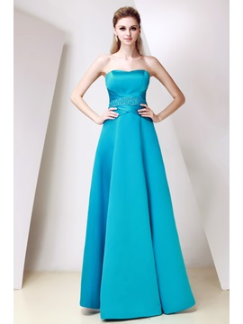 Elegant A Line Beading Strapless Neckline Floor Length Dashas Bridesmaid Dress